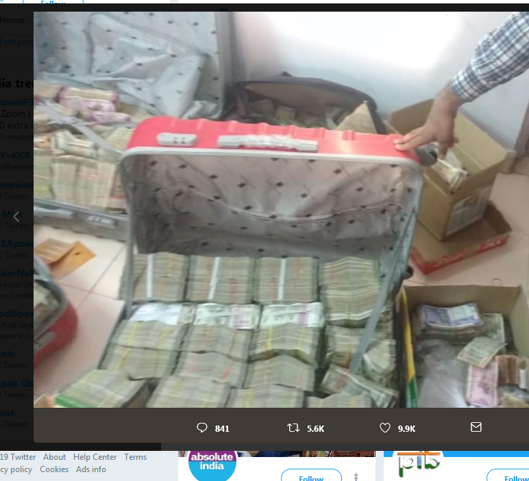Screenshot 2019 04 09 ANI on Twitter Pictures provided by Income Tax Sources of cash recovered during raid at residential p...
