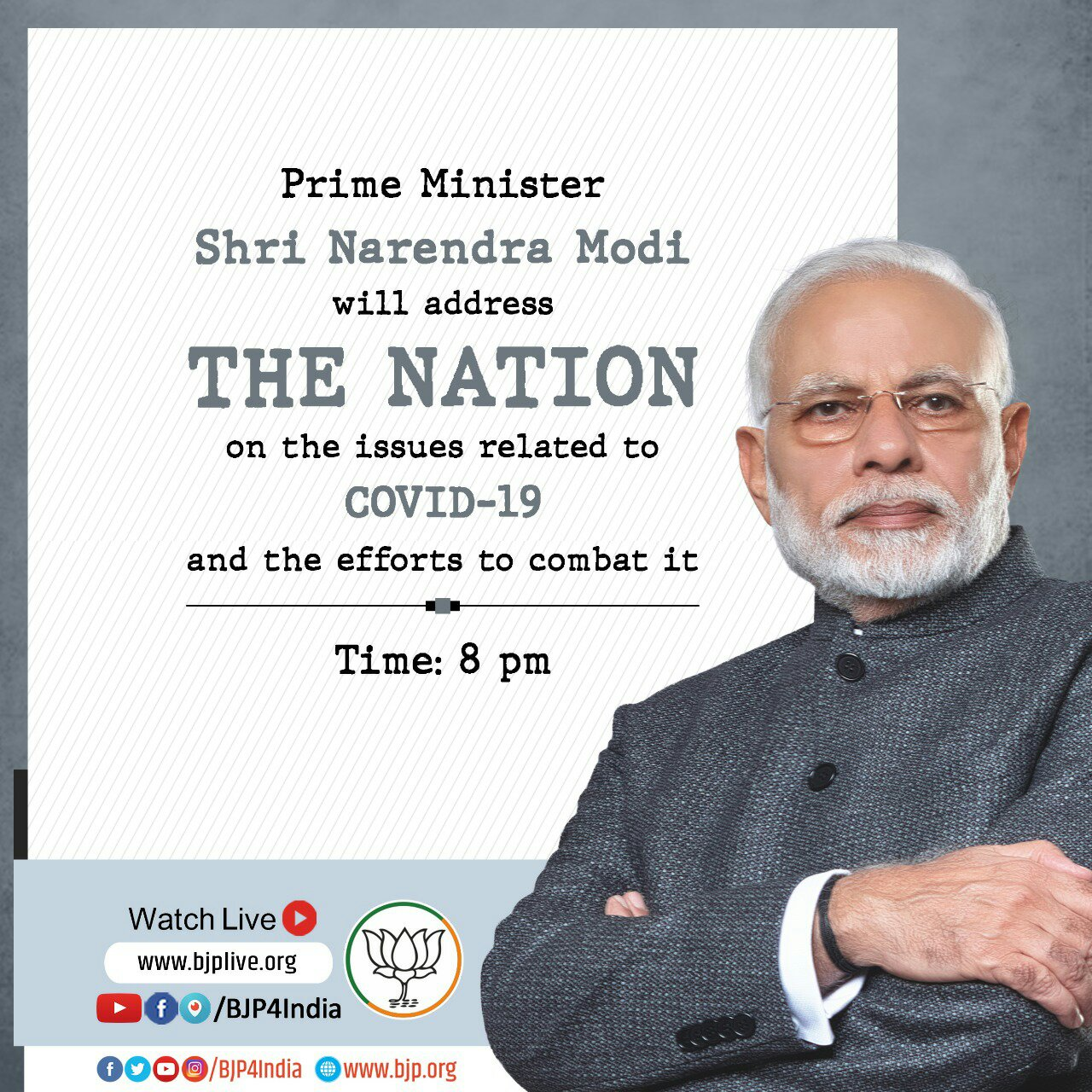Narendra modi address today live at 8pm
