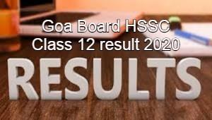 Goa Board HSSC Class 12 result 2020